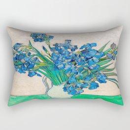 Irises by Vincent van Gogh Oil Painting Still Life Floral Arrangement In Vase Rectangular Pillow