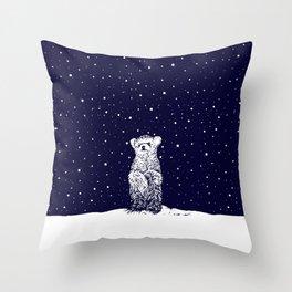 Polar Bear in a Snow Storm Throw Pillow