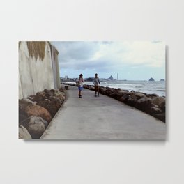 Coastal walkway boarding Metal Print