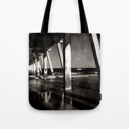 Johnny Mercer's Pier Wrightsville Beach NC Gritty Monochrome Tote Bag
