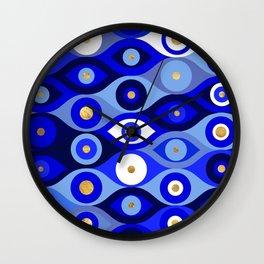 Greek Mati Mataki - Matiasma Evil Eye blues Wall Clock