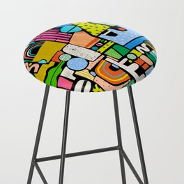 Color Block Collage Bar Stool
