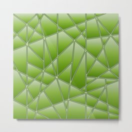 'Quilted' Geometric in Lime Green Metal Print