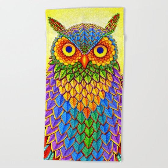 Psychedelic Rainbow Owl Beach Towel