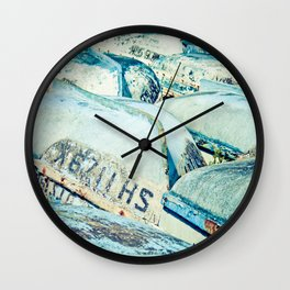 Brightly colored fishing boats - vintage photography Wall Clock