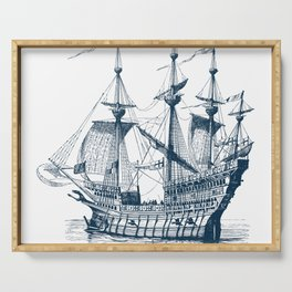 Blue vintage nautical wind sailing boat Serving Tray