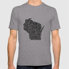 Typographic Wisconsin X-LARGE Mens Fitted Tee Tri-Grey