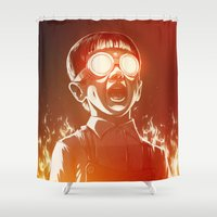 doctor Shower Curtains featuring FIREEE! by Dr. Lukas Brezak