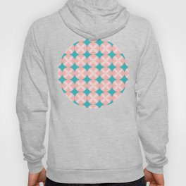 Pink Circle Flower Pattern with Aqua Background Hoody