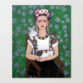 Frida cat lover Canvas Print