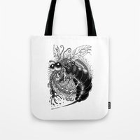 bug Tote Bags featuring BUG! by PRESTOONS / Art by Dennis Preston