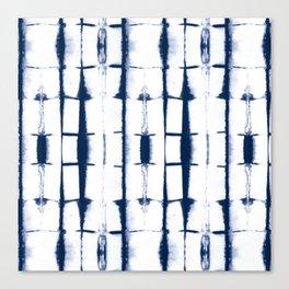 Shibori Stripes 4 Indigo Blue Canvas Print