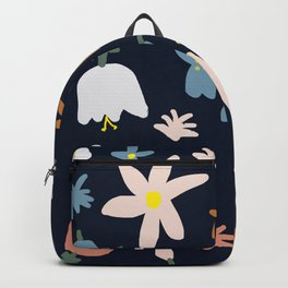 Blooming in the Navy (Handmade Floral Pattern) Backpack