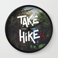 backpack Wall Clocks featuring Take A Hike by Zeke Tucker