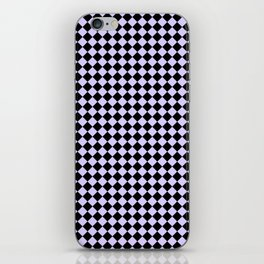Black and Pale Lavender Violet Diamonds iPhone Skin