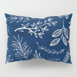 In The Wind - Blue and White Leaf Sketch Pillow Sham