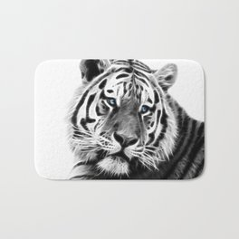 Black and white fractal tiger Bath Mat