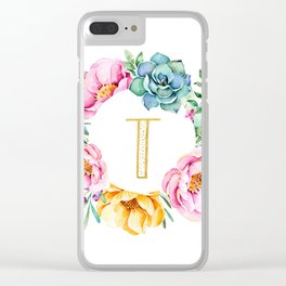 Watercolour Floral Wreath Initial Clear iPhone Case