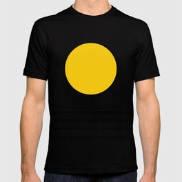Midcentury Yellow Minimalist Sunset With Black Stripes T-shirt