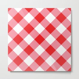 Gingham - Red Metal Print