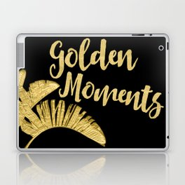 Golden Moments Glamorous Typography And Tropical Leaf Laptop & iPad Skin