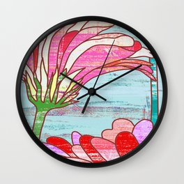 Gerbera flowers print, floral pattern in mint and pink Wall Clock