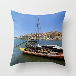 Port wine barges on the Douro Throw Pillow