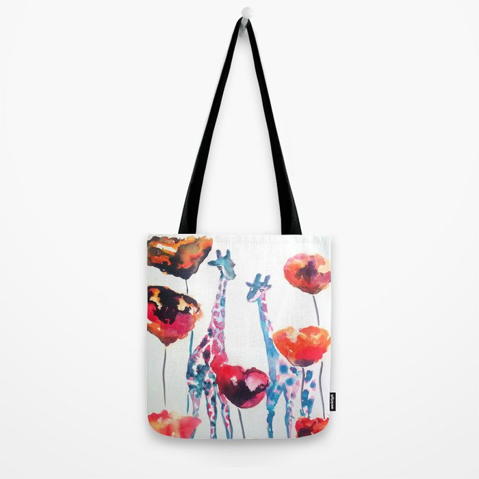 Giraffes and Poppies Tote Bag