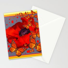 Abstract Red Poppy Monarch Butterflies Yellow-Grey Stationery Cards