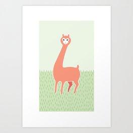 Green Meadows and a Peach Alpaca Art Print