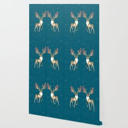 Deers With Birds Teal #society6 #buyart Wallpaper