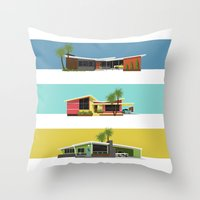 mid century modern Throw Pillows featuring Mid Century Modern Houses 2 by MidPark Prints