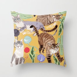 Ragdoll Cats pattern in yellow Throw Pillow