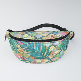 Gilded Moroccan Mosaic Tiles with Palm Leaves Fanny Pack