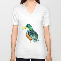 duck V-neck T-shirts featuring Duck by Frau Ottilie Illustration