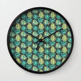 Modern green yellow tropical monster cheese leaves pattern Wall Clock