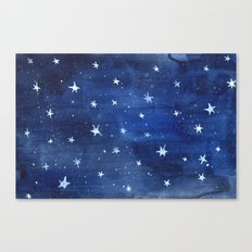 Midnight Stars Night Watercolor Painting by Robayre Canvas Print