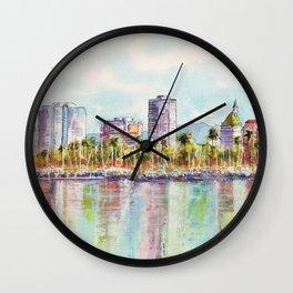Long Beach Coastline Reflections Wall Clock