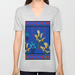 white Calla Lilies Blue & Red Pattern Art Unisex V-Neck