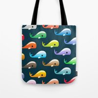 moby dick Tote Bags featuring Moby by Halamo Designs