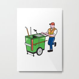 Streeet Cleaner Pushing Trolley Cartoon Isolated Metal Print