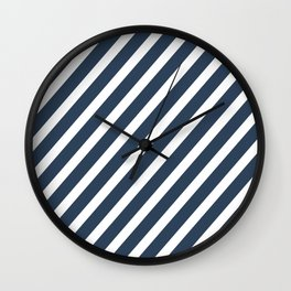 Navy Blue Diagonal Stripes Wall Clock