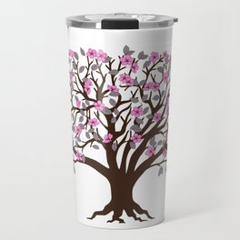 apple tree with pink blossom on the white background Travel Mug