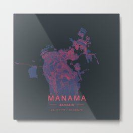 Manama, Bahrain - Neon Metal Print