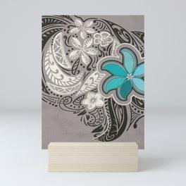 Teal Hawaiian Floral Tattoo Design Mini Art Print
