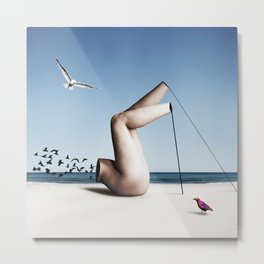 Birds on a beach interacting with a disjointed body Metal Print