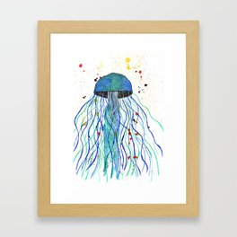 Watercolor Blue Jellyfish Framed Art Print