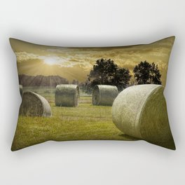 Farm Field with Hay Bales at Sunrise in West Michigan Rectangular Pillow