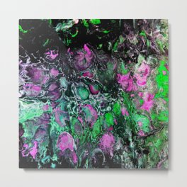 Psycho - Jellyfish Flow in the Neon Green Glow of the Deep Black Sea by annmariescreations Metal Print