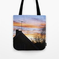 swedish Tote Bags featuring Swedish Sunset by Matthew Phillips